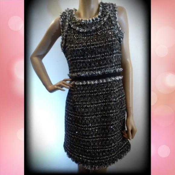 Boston Proper Dresses & Skirts - Boston Proper Tweed Sequin Frayed Cocktail Dress